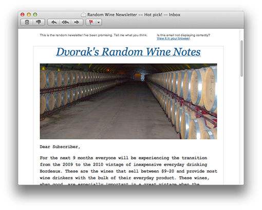 Random Wine Newsletter