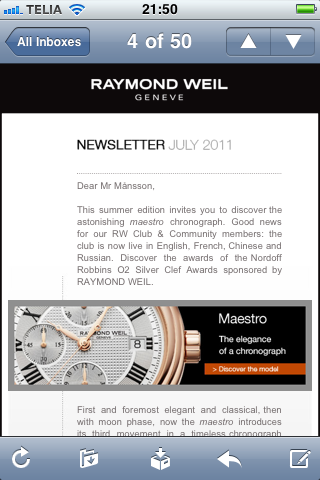 Raymond Weil iPhone