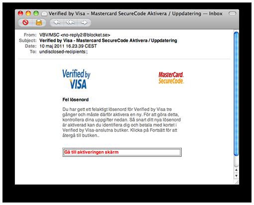 VISA phishing email