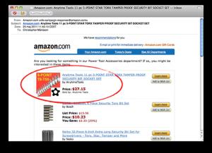 Individanpassat mail från Amazon